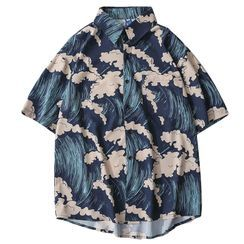 Shymian - Short-Sleeve Sea Print Shirt