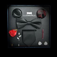 NINIRUSI - Set: Neck Tie + Bow Tie + Pocket Square + Cufflinks + Lapel Pin + Tie Clip