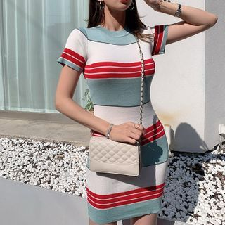 Coheat - Short-Sleeve Striped Knit Mini Bodycon Dress