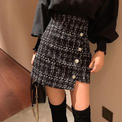 Astarte - Tweed A-Line Mini Skirt