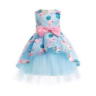 Junon - Kids Sleeveless Floral Print Prom Dress