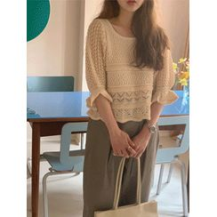 maybe-baby - Elbow-Sleeve Pointelle-Knit Top