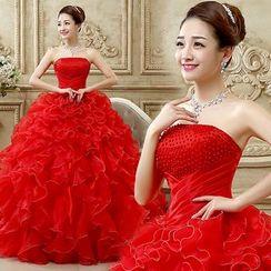 Sennyo - Strapless Ruffle Ball Gown