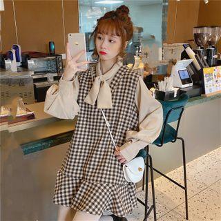 Guajillo - Long-Sleeve Tie-Neck Shirt / Plaid Mini A-Line Pinafore Dress