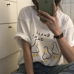 Guajillo - Elbow-Sleeve Duck Print T-Shirt