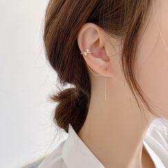 Agape - Rhinestone Threader Earring with Cuff