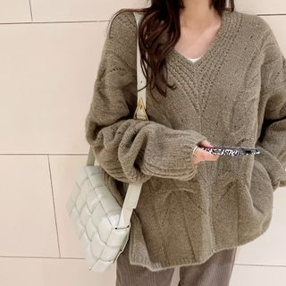 NANING9 - V-Neck Oversize Cable Sweater