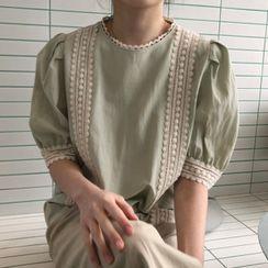 MIKIGA - 镂空蕾丝短袖衬衫