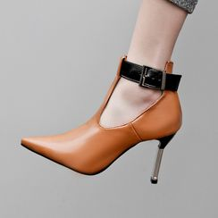 Comof - Kitten-Heel Pointed Ankle Boots