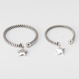 CHOSI - 925 Sterling Silver Ribbed Star Open Ring