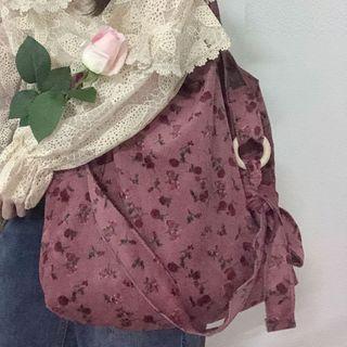 Yongolia - Floral Print Corduroy Crossbody Bag
