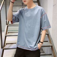 Bay Go Mall - Short-Sleeve Embroidered T-Shirt