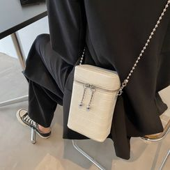 Miloes - Croc Grain Mobile Phone Crossbody Bag