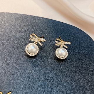 LIVSIA - Rhinestone Bow Faux Pearl Dangle Earring