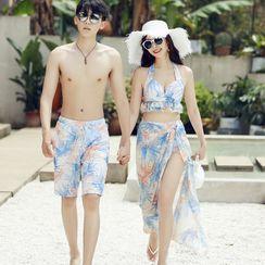 Sirene - Couple Matching Set: Floral Print Beach Short + Bikini + Cover-Up