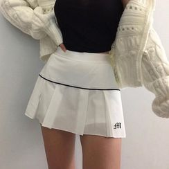 Genrovia - Embroidered Mini A-Line Pleated Skirt