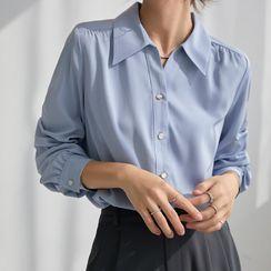 Maliske - 長袖純色襯衫