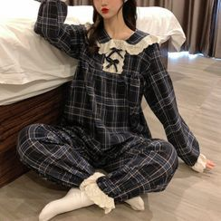 Moon City - Pajama Set: Plaid Top + Pants