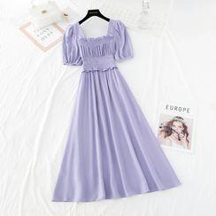 NINETTE - Puff Short-Sleeve Midi A-Line Dress
