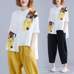 Taragon - Printed Elbow-Sleeve Blouse / Cropped Wide-Leg Pants