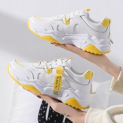Shanhoo - Lettering Panel Platform Chunky Sneakers