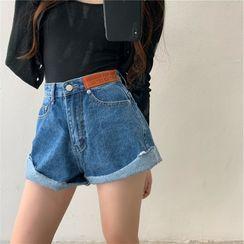 Allizzwell - High-Waist Denim Shorts