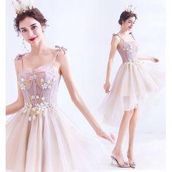 Angel Bridal - Spaghetti-Strap Flower Applique Dip-Back A-Line Mini Prom Dress