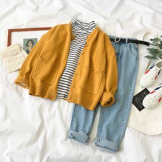 Miruku - Long-Sleeve Striped Turtleneck / Cardigan / Straight-Cut Pants / Belt