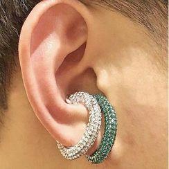 Mimishi - Rhinestone / Alloy Cuff Earring