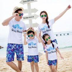 Hinode - Family Matching Set: Palm Tree Print Short Sleeve T-Shirt + Shorts
