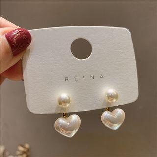 Catalunya - Kunstperlen-Herz-Ohrringe
