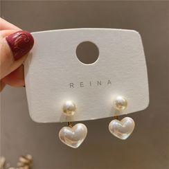 Catalunya - Faux Pearl Heart Double Studs