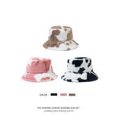 Hat Society - Cow Print Fluffy Bucket Hat