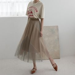 NAIN - Color-Block Long Tulle Pleated Skirt
