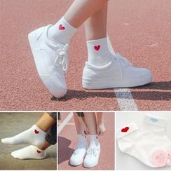 Sock Kingdom - 刺绣心心袜