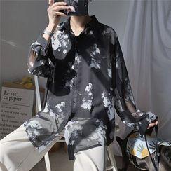 JUN.LEE - Floral Print Long-Sleeve Oversize Shirt