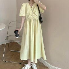 Sugardance - Short-Sleeve Midi A-Line Dress