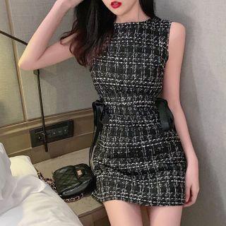 Jeans Kingdom - Sleeveless Mini A-Line Tweed Dress