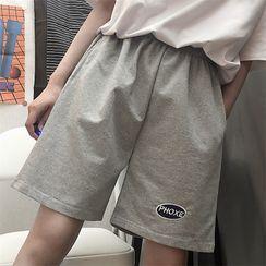 YERGO - Couple Matching Lettering Wide-Leg Sweatshorts