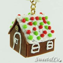 Sweet & Co. - Sweet Christmas Ginger Bread House Pearl Gold Necklace