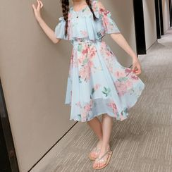 Island Puppies - Kids Flower Print Cold-Shoulder Midi A-Line Dress