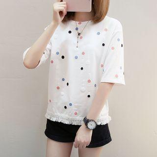Ukiyo - Polka Dot Elbow-Sleeve T-Shirt