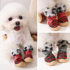 Salonga - Striped Faux Fur Pet Shoes