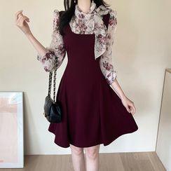 MyFiona - Scarf-Neck Floral Chiffon-Panel Dress