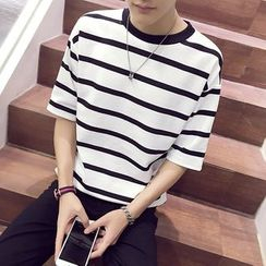 Ferdan - Elbow-Sleeve Striped T-Shirt