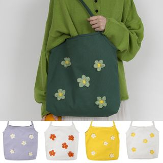 TangTangBags - Canvas Flower Appliqued Tote Bag