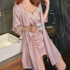 Almilo - Pajama Set: Lace Trim Spaghetti-Strap Mini Dress + Sleep Robe