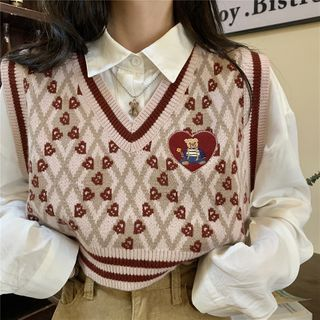 Whoosh - Long-Sleeve Button-Up Shirt / Bear Embroidered Heart Print Cropped Sweater Vest