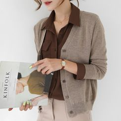 WITH IPUN - V-Neck Textured Cardigan in 16 Colors