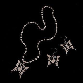 Mimishi - Alloy Butterfly Pendant Necklace / Dangle Earrings